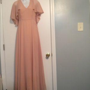 60b1303ddc33 Boohoo Dresses | Chiffon Cape Detail Maxi Dress Blush | Poshmark
